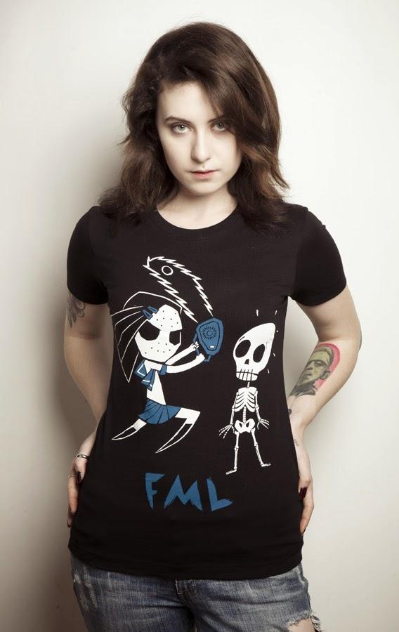 fml shirt, anime chainsaw girl, fml skeleton, skeleton shirt, schoolgirl jason, schoolgirl chainsaw, skeleton comiccon