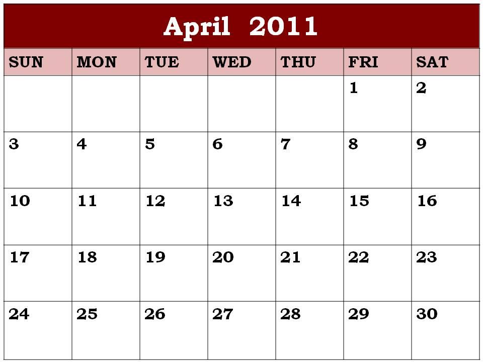 printable april 2011 calendar with holidays. CALENDAR 2011 PRINTABLE APRIL