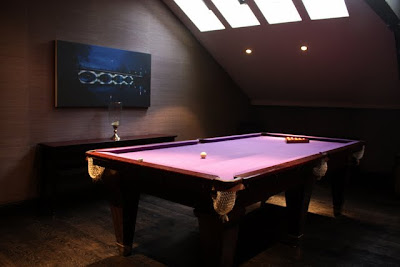 Pool table in a suite at the Malmaison Belfast hotel in Northern Ireland