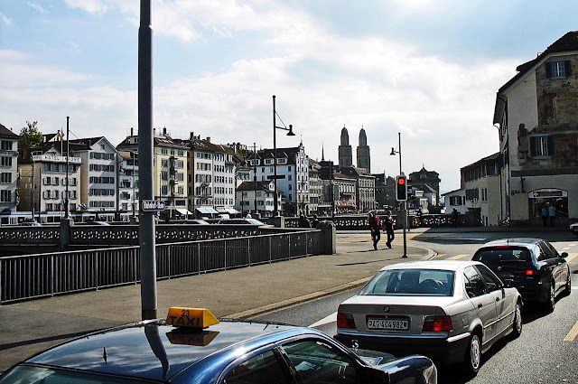 road traffic signal and cars in Zurich