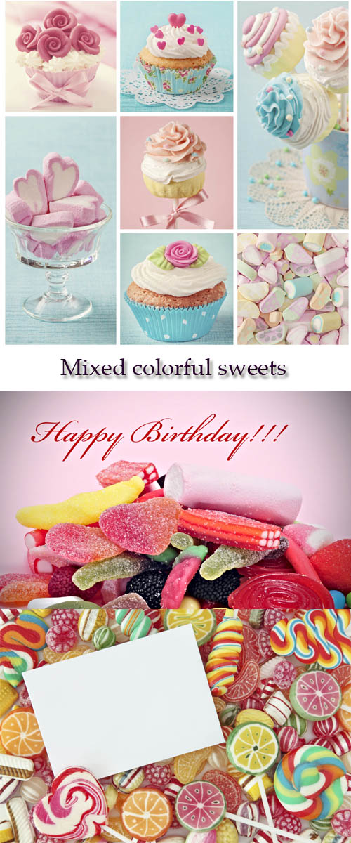Stock Photo: Mixed colorful sweets