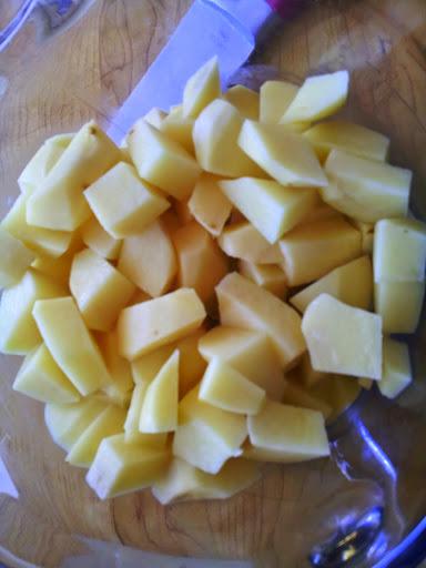 chopped potatoes. potato leek soup recipe