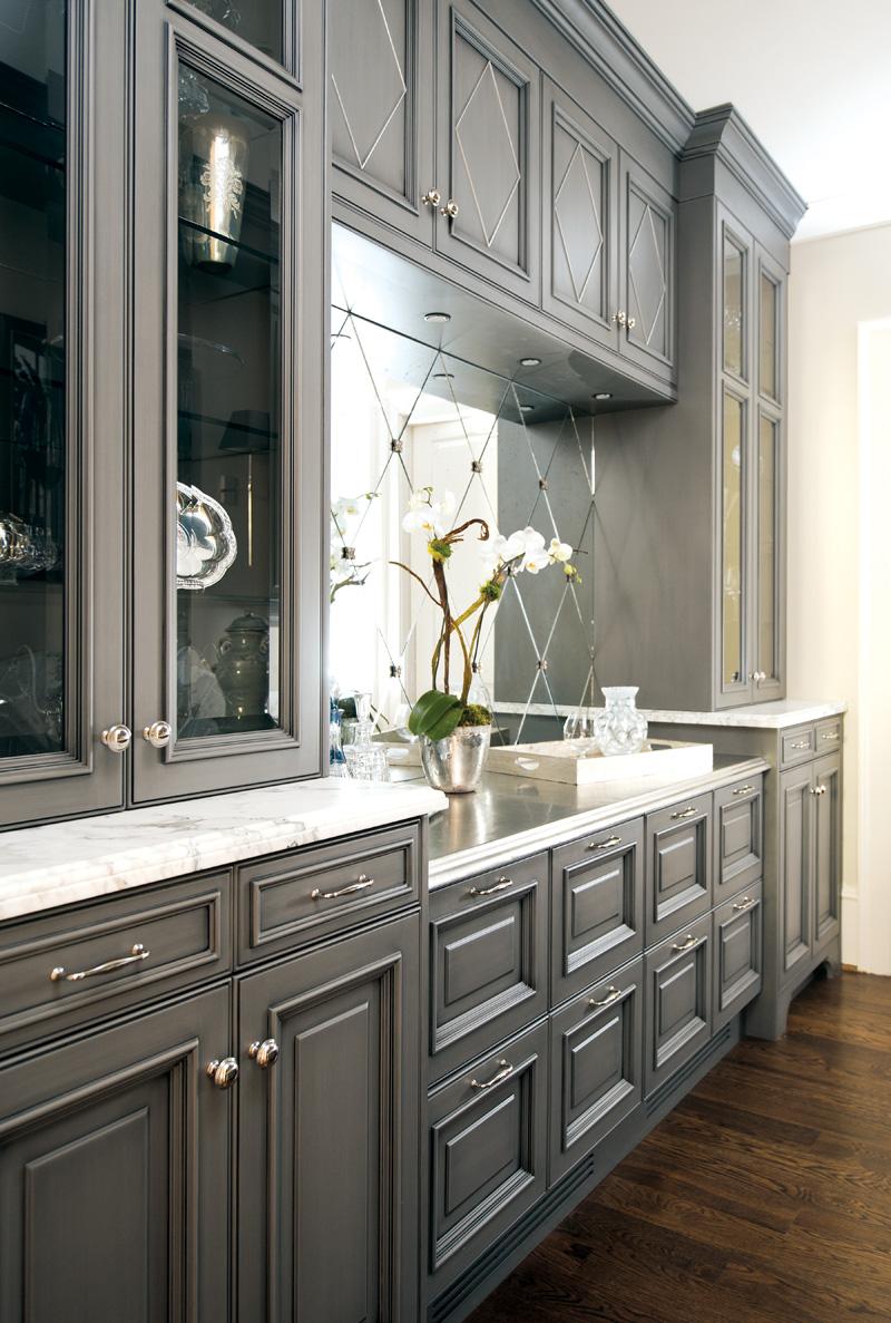 Blue gray kitchen cabinets - Image Via Atlanta Homes Lifestyles Magazine