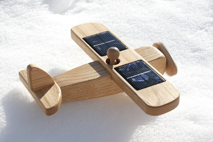 Wooden Airplane - Traditional Toy - Solar Powered