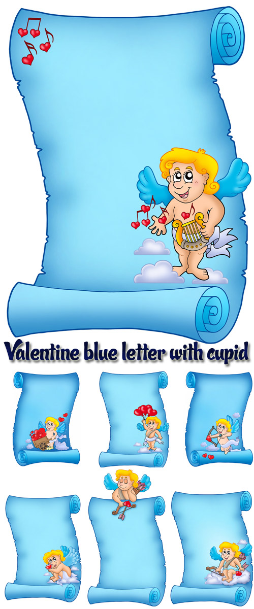 Stock Photo: Valentine blue letter with cupid