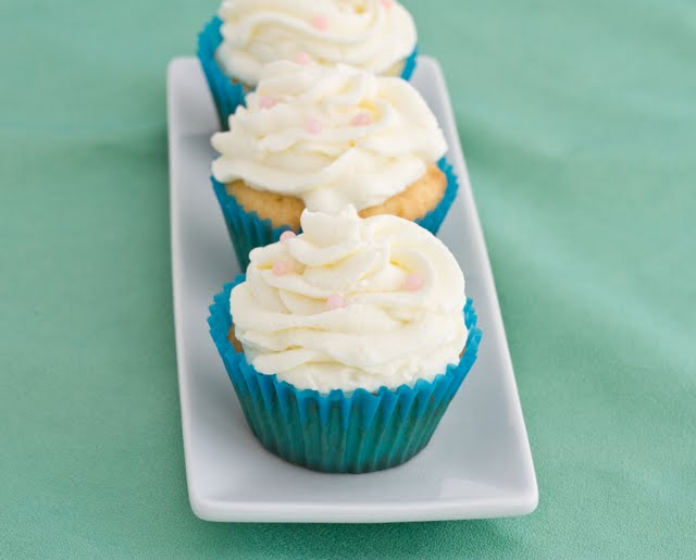 close-up photo of Vanilla Cupcakes on a plate