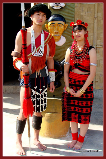 sangtam tribal costume man and woman in yimchunger tribal costume