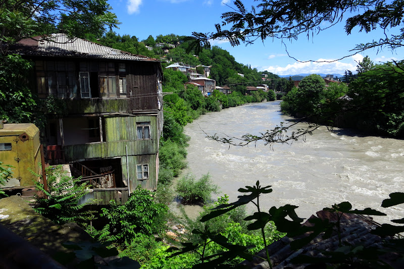 Old homes overhanging the Rioni River