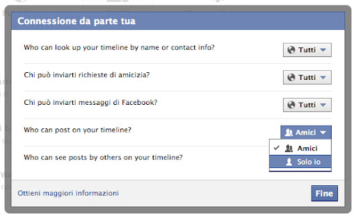 Come disabilitare la bacheca di Facebook