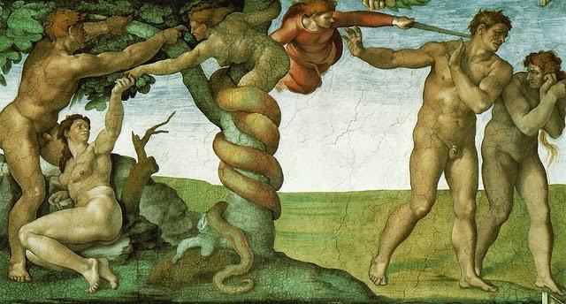 米高安哲羅的畫作:一邊是亞當夏娃被誘惑,另一邊是他們被逐出伊甸園