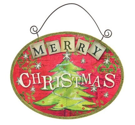 Demdaco Merry Christmas Tree Metal Door Sign (20121105)