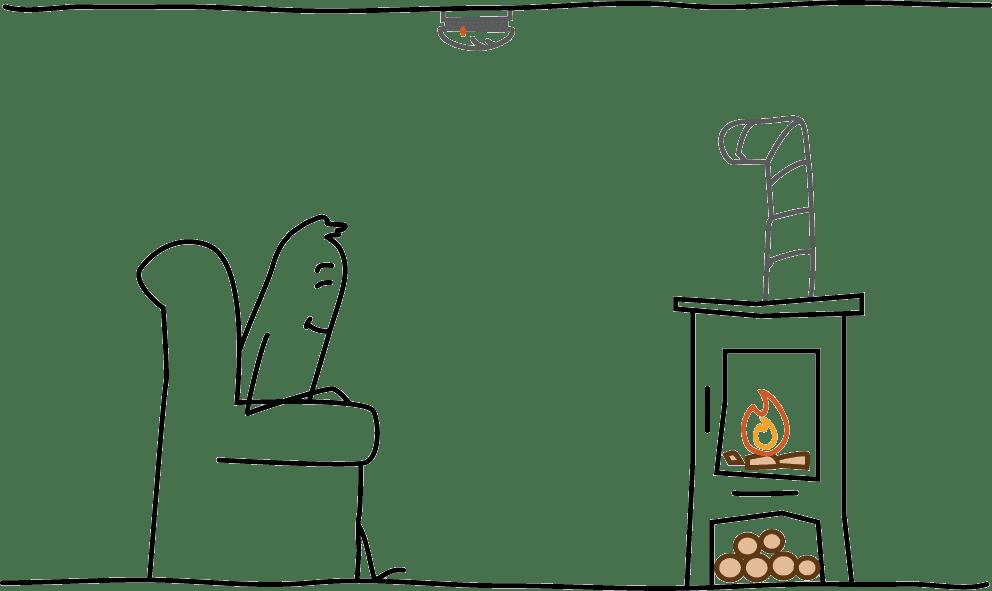Rauchwarnmelder in Räumen mit Kaminofen