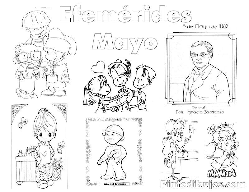 Efemérides Mayo para colorear