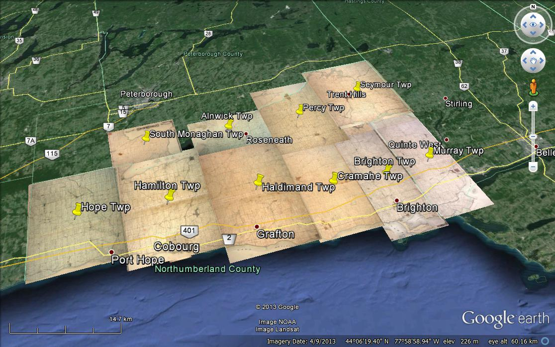 1878 Northumberland in Google Earth - Lakeshore Genealogical