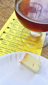 Portland Beer and Cheese Festival 2014, a pairing of beer and cheese, here The Commons Brewery Dunkelweiss with Quadrello di bufala – water buffalo – Italy