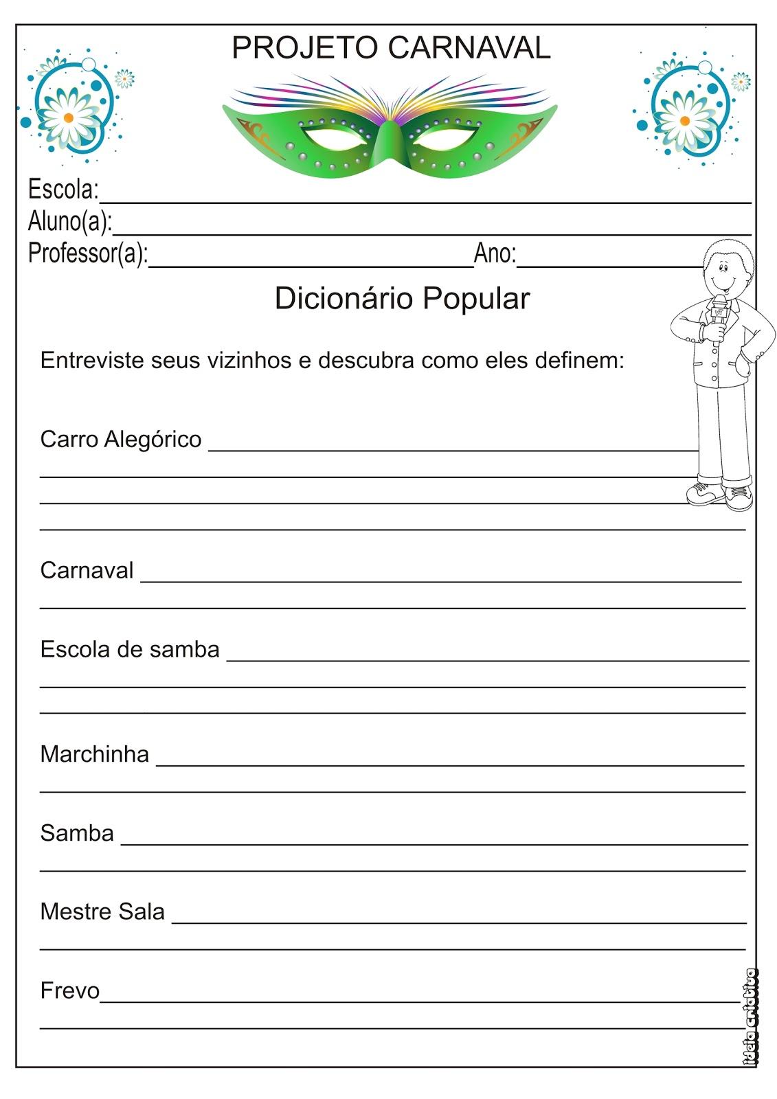 Atividade 3   Ano Dicion  Rio Por  Tem  Tica Carnaval