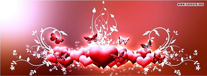 Capas para Facebook Corações e Borboletas