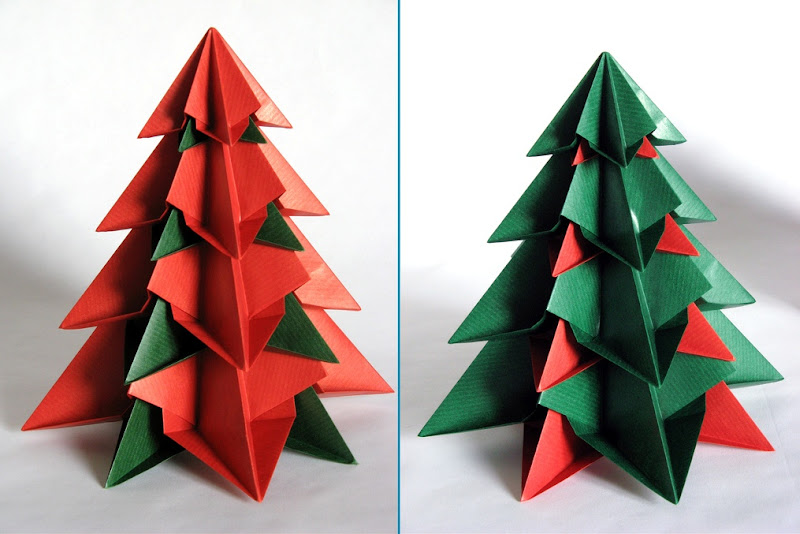 Origami foto Bialbero di Natale, variante - Double Christmas tree, variant