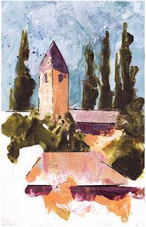 San Pietro in Mavino, Sirmione, acrylic on print
