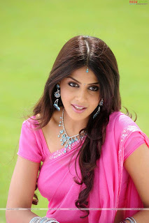 Actress Genelia in plain pink saree