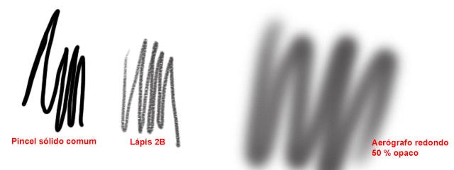 Variações de traço dos pincéis comum, lápis e aerógrafo