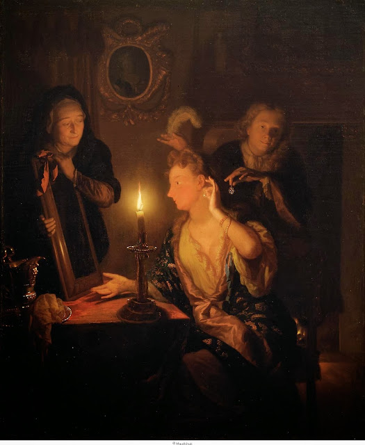 Godfried Schalcken - Lady at the Mirror in the Candlelight