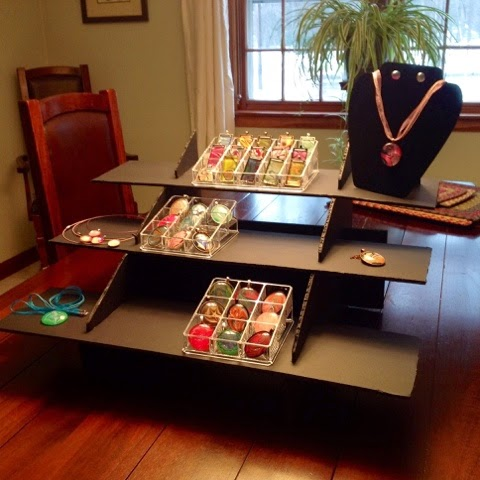 Fullamoon designs handpainted water marbled artisan for How to make display shelves for craft show
