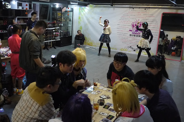 dancing and card playing at a Halloween Cosplay party in Changsha, China
