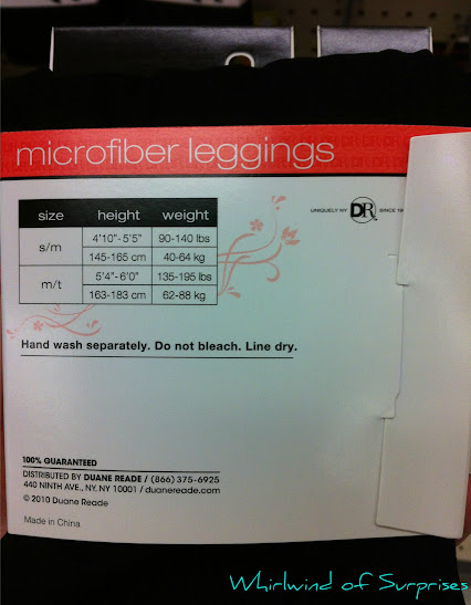 Duane Reade Legging Sizing