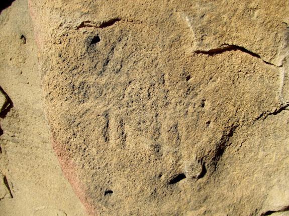 One of several faint petroglyphs