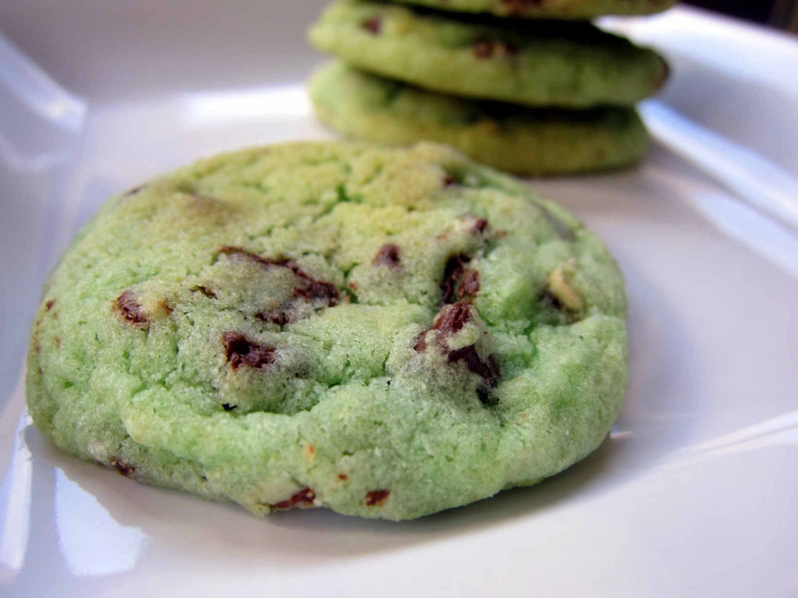 Green Mint Chocolate Chip Cookies From Scratch