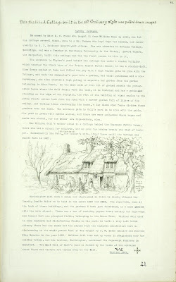 A Record of Shelford Parva by Fanny Wale P41 fo. 42, page 41: A description of Caguga cottage with a copy of a pencil sketch by Louisa Wale in 1852 showing Gall's Cottage. Description written in 1909.  A note at the top of the page 'This thatched cottage built in 15th century style was pulled down in 1952'.  [fo.36 but within mount D]