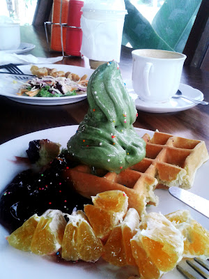 Waffle and Green Tea Ice Cream with malberry sauce