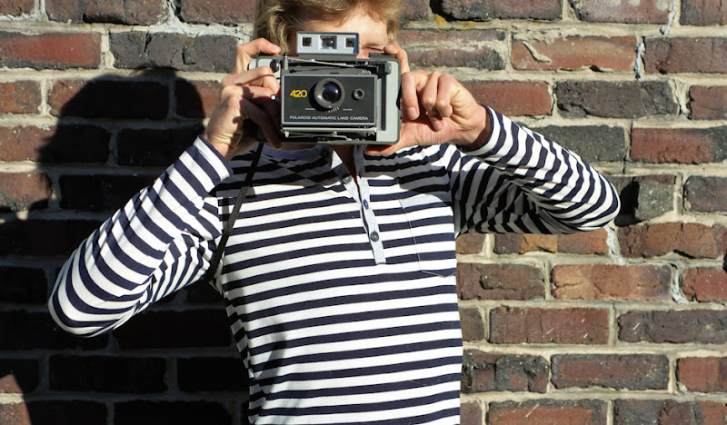 Navy Stripe Henley old fashioned camera