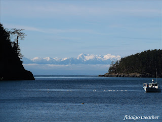 Olympic Mountains from Bowman Bay