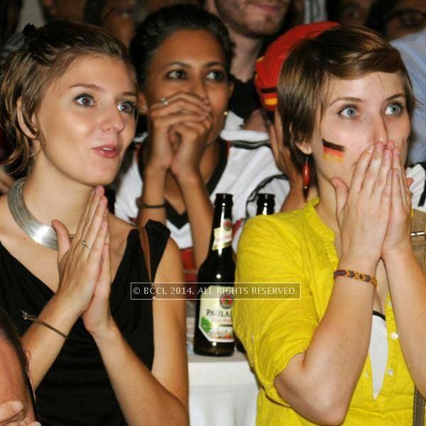 Marion and Clara during the 2014 FIFA World Cup final screening, held at Germany embassy, in New Delhi, on July 13, 2014.