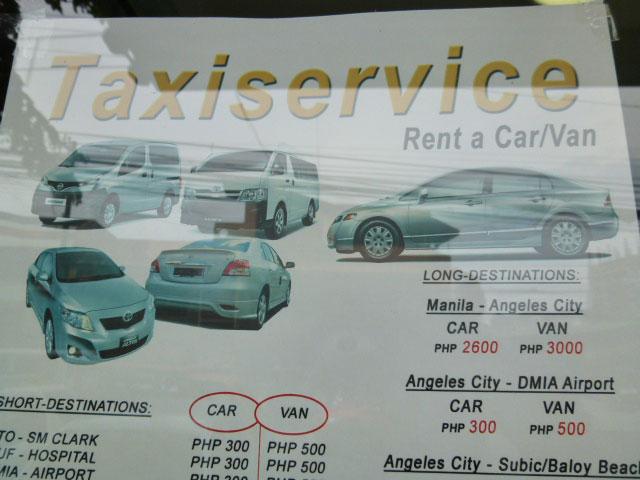 アンヘレスのタクシーサービス