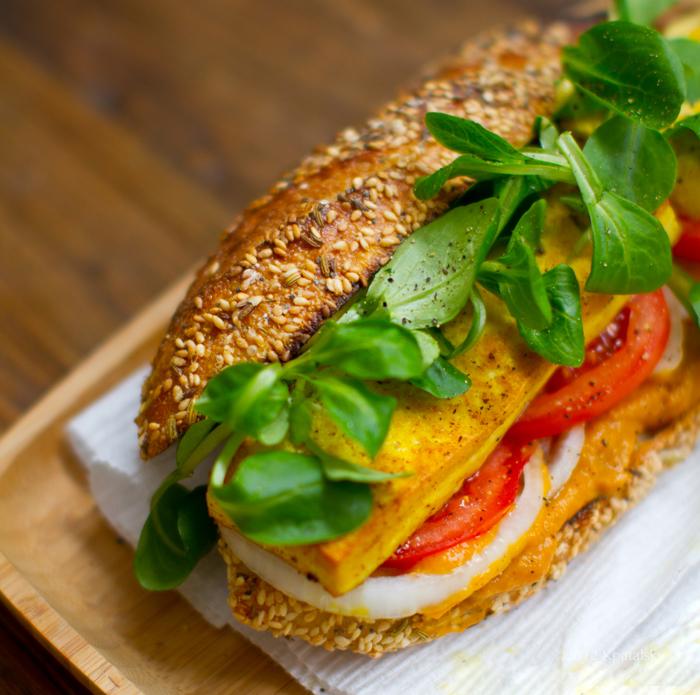 Crispy Tofu Sandwich with Sweet Potato-Pumpkin Spread.