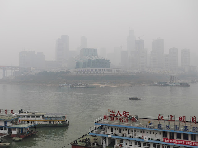 view of Chongqing Grand Theatre across the Jialing River in 2015