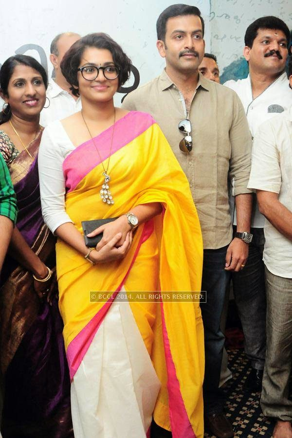 Parvathi Menon and Prithviraj during the premiere of Ennu Ninte Moideen, in Trivandrum.