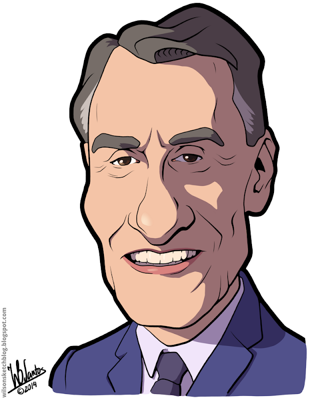 Cartoon caricature of the 19th President of the Portuguese Republic, Aníbal Cavaco Silva.