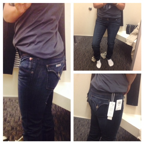 Trying on Hudson jeans