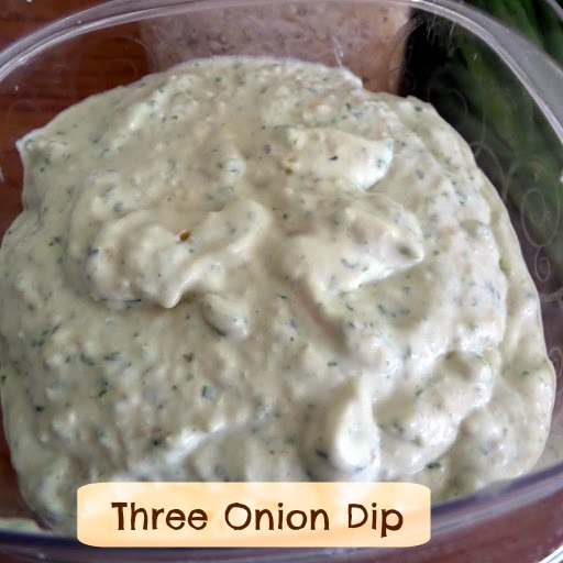 Three Onion Dip:  A creamy onion dip with three kinds of onions that is a perfect dip for potato chips.