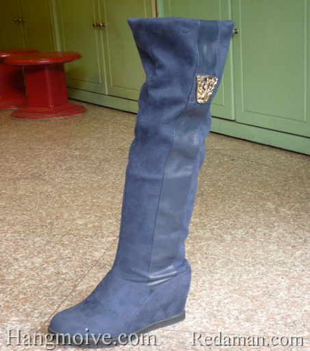Boots đế xuồng, cao cổ quá đầu gối, chất liệu bằng da lộn, màu xanh 1 - Chỉ với 790.000đ