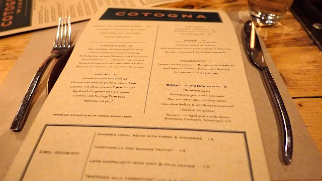 SF - Cotogna (Jackson Square) - menu