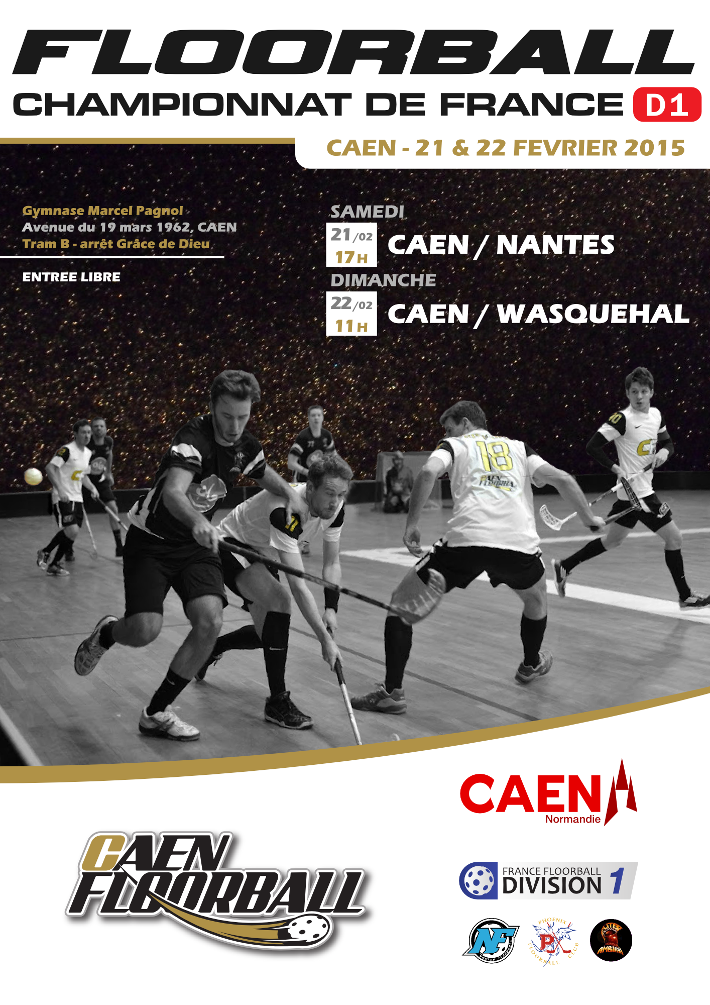 Affiche du week-end floorball D1 à Caen, 21-22 février !