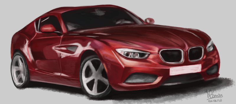 Sketch paint of BMW Coupe by Zagato, using Krita 2.5 Alpha.