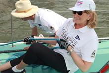 Martha Stewart trimming sails on 12 Meter Intrepid