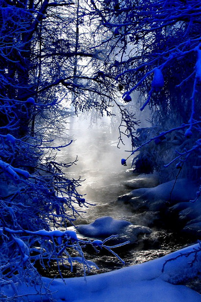 iPhone 4 Desktop Wallpaper Blue Snow Winter Scenery