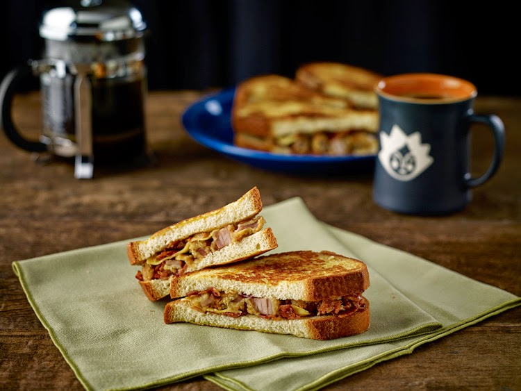 New at Starbucks:OVEN‐FRIED CHICKEN AND BACON RELISH ON FRENCH TOAST